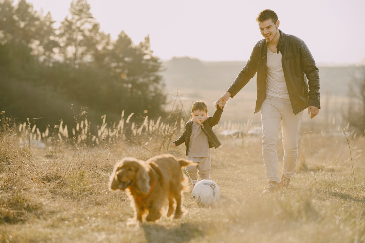 Dad And Son Walking A Dog